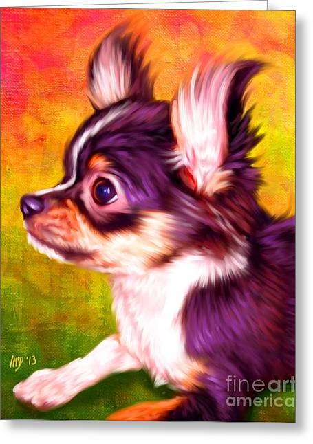 Chihuahua Colorful Art Greeting Cards - Chihuahua Dog Art Greeting Card by Iain McDonald