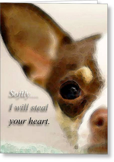 Buy Art Prints Greeting Cards - Chihuahua Dog Art - The Thief Greeting Card by Sharon Cummings