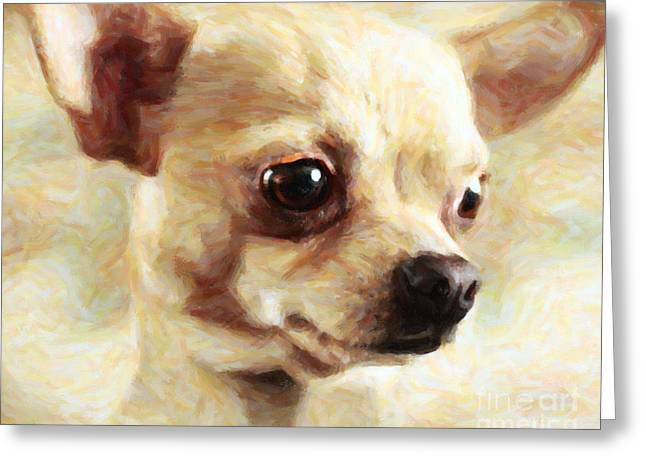 Taco Bell Chihuahua Greeting Cards - Chihuahua Dog - Painterly Greeting Card by Wingsdomain Art and Photography
