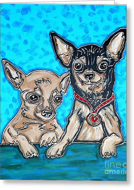 Puppies Mixed Media Greeting Cards - Chihuahua Duo Greeting Card by Cynthia Snyder