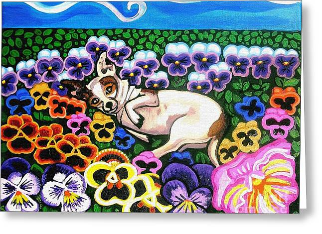 Commssioned Pet Portraits Greeting Cards - Chihuahua In Flowers Greeting Card by Genevieve Esson