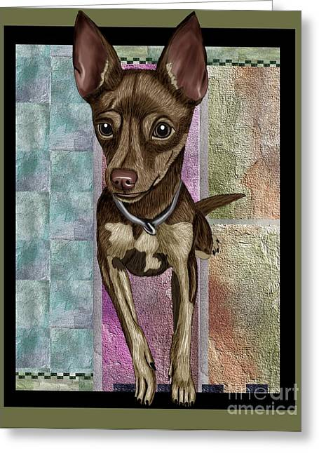 Cute Mixed Media Greeting Cards - Chihuahua Greeting Card by Karen Sheltrown