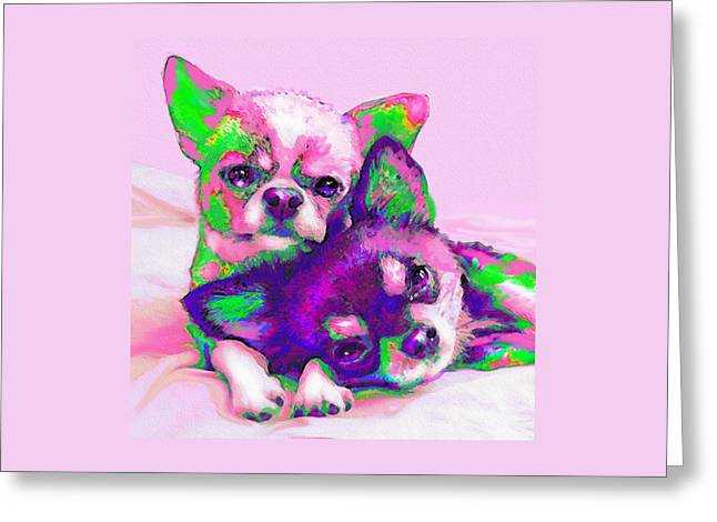Chihuahua Colorful Art Greeting Cards - Chihuahua Love Greeting Card by Jane Schnetlage