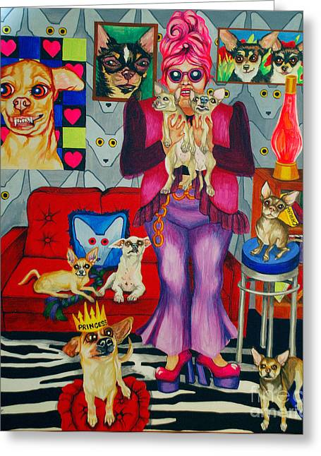 Bright Art Of Dogs Greeting Cards - Chihuahua Mania Greeting Card by Louise Hallauer