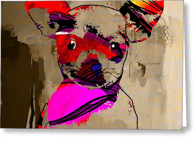 Puppies Mixed Media Greeting Cards - Chihuahua Greeting Card by Marvin Blaine