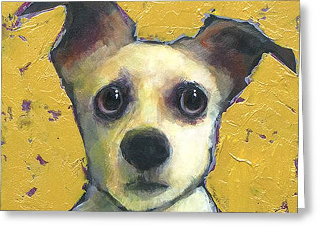 Chihuahua Portraits Greeting Cards - Chihuahua Mix Greeting Card by Mary Medrano