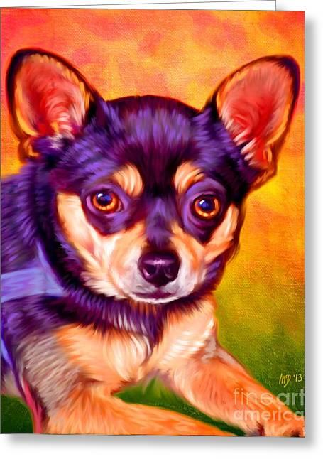 Chihuahua Colorful Art Greeting Cards - Chihuahua Pet Art Greeting Card by Iain McDonald