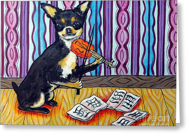 Chihuahua Abstract Art Greeting Cards - Chihuahua Playing the Violin Greeting Card by Jay  Schmetz