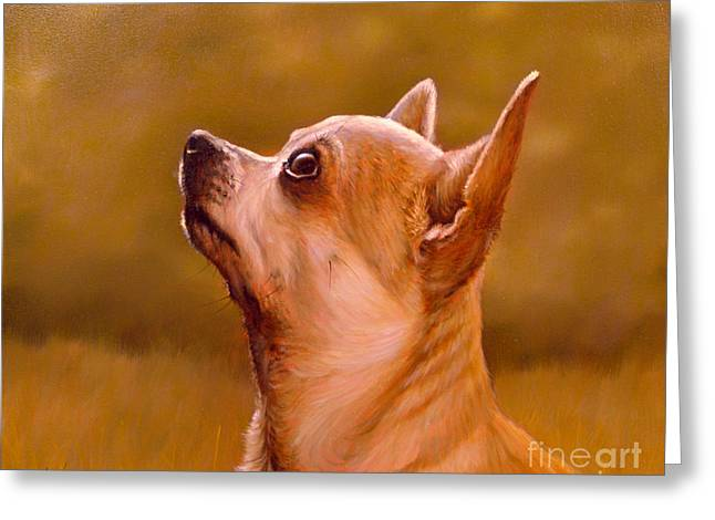Chihuahua Portrait Greeting Card by John Silver