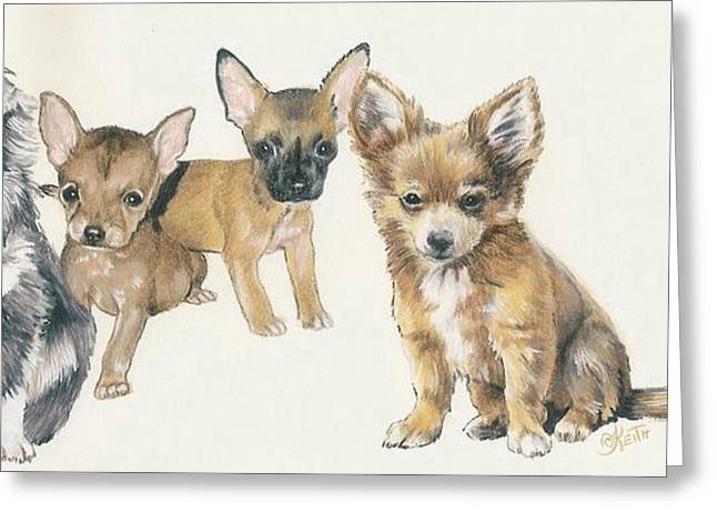 Toy Dogs Mixed Media Greeting Cards - Chihuahua Puppies Greeting Card by Barbara Keith
