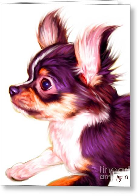 Chihuahua Colorful Art Greeting Cards - Chihuahua Puppy Portrait  Greeting Card by Iain McDonald