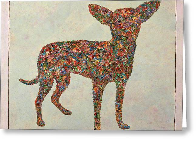 Textured Drawings Greeting Cards - Chihuahua-shape Greeting Card by James W Johnson