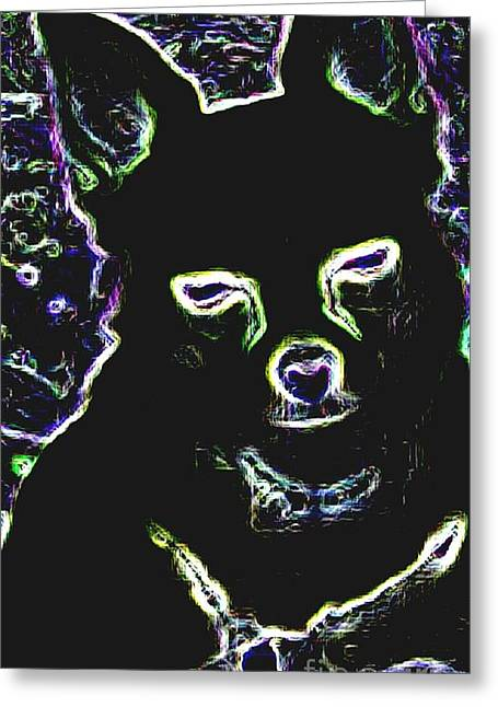 Chihuahua Silhouette With Color Greeting Card by Gail Matthews