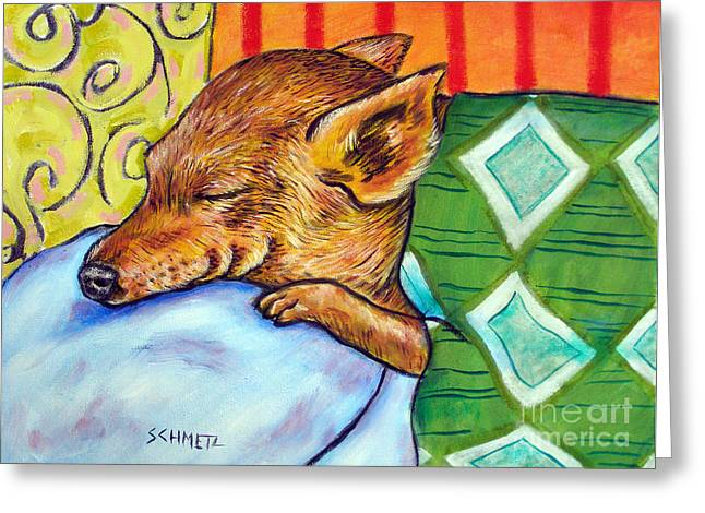 Chihuahua Abstract Art Greeting Cards - Chihuahua Sleeping Greeting Card by Jay  Schmetz
