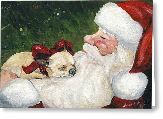 Chihuahua's Cozy Christmas Greeting Card by Charlotte Yealey