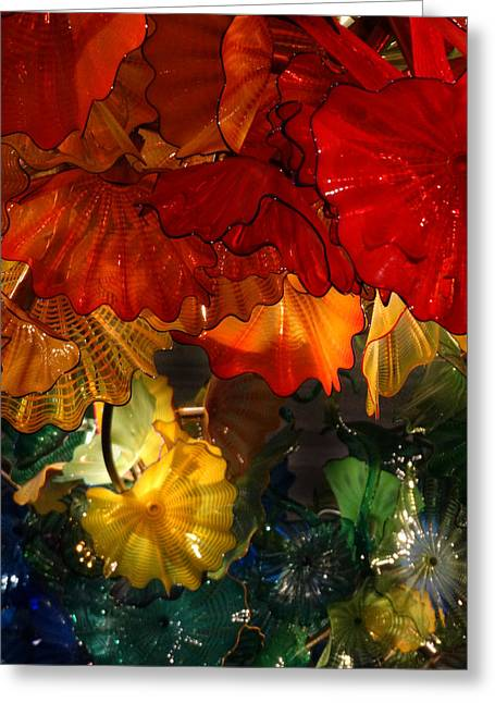 Chihuly Glass Greeting Cards - Chihuly Chandelier at Meijer Gardens Cafe Greeting Card by David T Wilkinson