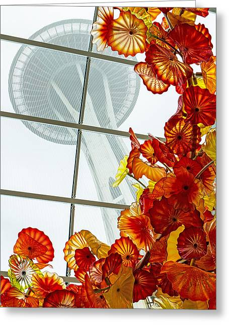 Art Blown Glass Photographs Photographs Photographs Greeting Cards - Chihuly Fire Orange Baskets With Seattle Space Needle Greeting Card by Jordan Blackstone