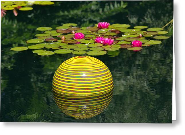 Chihuly Glass Greeting Cards - Chihuly Floating Ball Greeting Card by Frankie Wilson