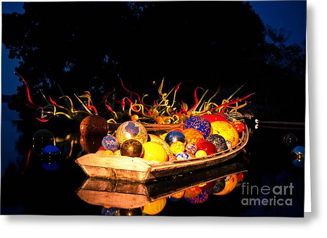 Dallas Arboretum Greeting Cards - Chihuly Glass at Night Greeting Card by Sonja Quintero