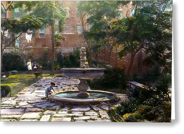 Kinkade Greeting Cards - Child and Fountain Greeting Card by Terry Reynoldson