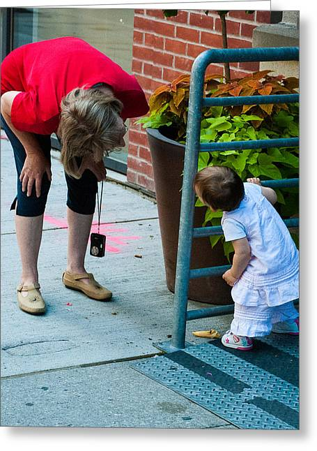 Geobob Greeting Cards - Child and Grandma Playing and Laughing in Toronto Canada Greeting Card by Robert Ford