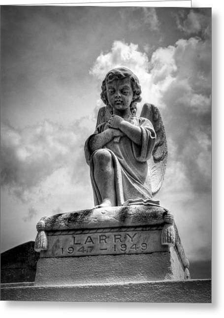 Angels Numbers Greeting Cards - Child Angel in Black and White Greeting Card by Chrystal Mimbs