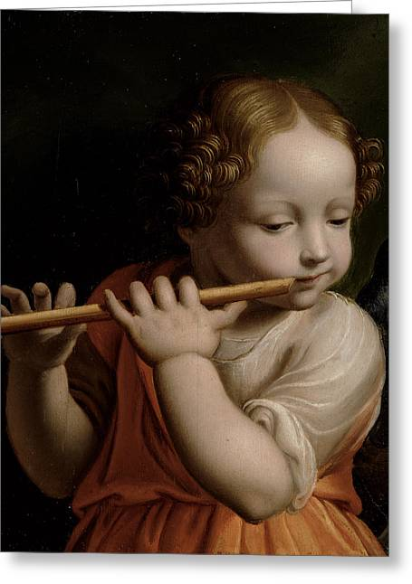 Concentration Greeting Cards - Child Angel Playing A Flute, C.1500 Greeting Card by Bernardino Luini