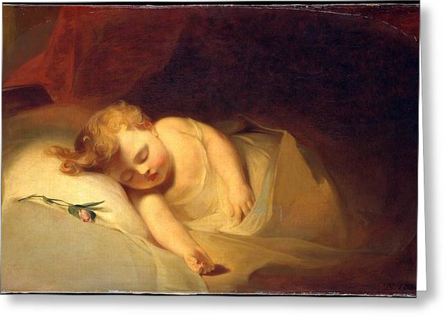Sully Greeting Cards - Child Asleep Greeting Card by Celestial Images