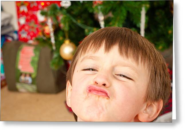 Outdoor Portrait Greeting Cards - Child at christmas Greeting Card by Tom Gowanlock