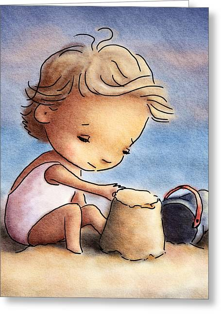 Little Boy Drawings Greeting Cards - Child At The Beach Greeting Card by Anna Abramska
