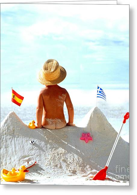 Sun Hat Greeting Cards - Child At The Beach Greeting Card by Manfred Uselmann