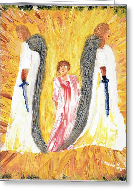 Art-by-cassie Sears Greeting Cards - Child being escorted into Heaven Greeting Card by Cassie Sears