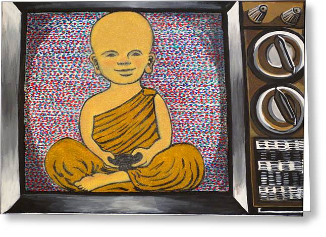 Old Tv Paintings Greeting Cards - Child Buddha in a Television Greeting Card by Nathan Winsor