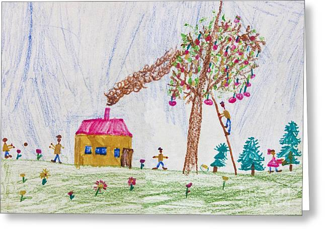 Apple Pastels Greeting Cards - Child drawing of a happy family Greeting Card by Kiril Stanchev