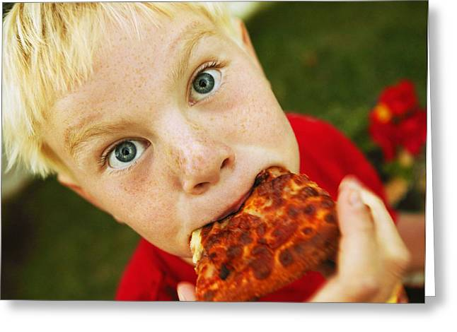 Kid Eating Snack Greeting Cards - Child Eats Pizza Greeting Card by Don Hammond