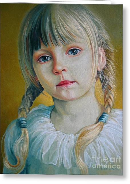 Artistic Portraiture Greeting Cards - Child Greeting Card by Elena Oleniuc