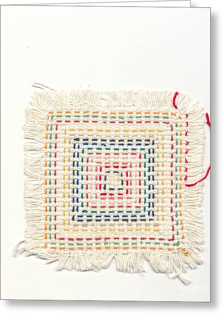 Child Tapestries - Textiles Greeting Cards - Child embroidery Greeting Card by Kerstin Ivarsson