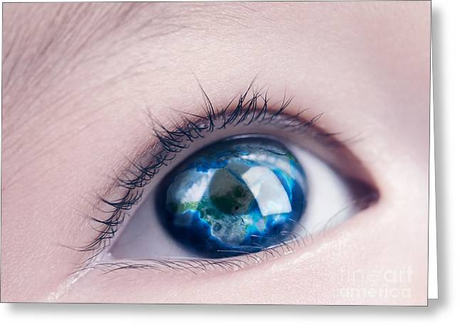 Child Care Greeting Cards - Child eye with world map reflecting in it Greeting Card by Oleksiy Maksymenko
