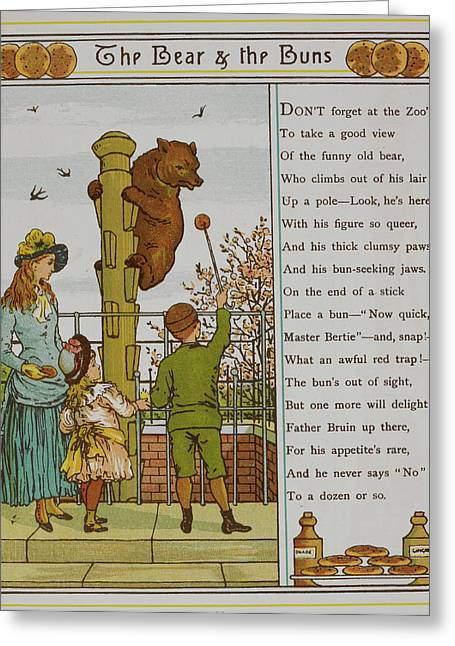 Child Feeding A Bear At London Zoo Greeting Card by British Library