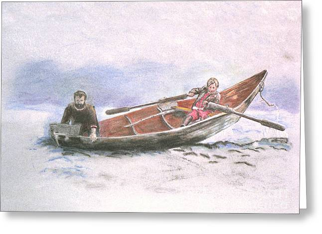 Row Pastels Greeting Cards - Child Fisherman Greeting Card by Lisa Pastille