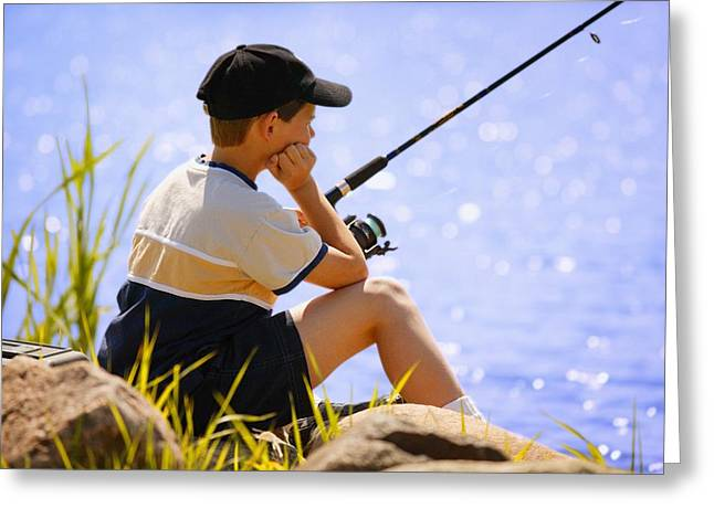 Enjoying Greeting Cards - Child Fishing Greeting Card by Don Hammond