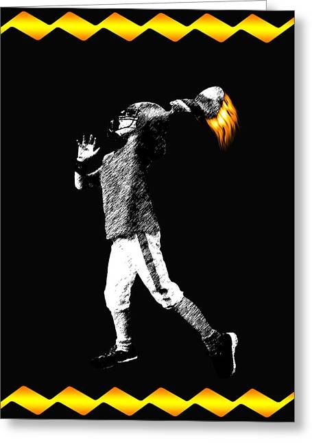 Player Greeting Cards - Child Football Player With Flaming Football Greeting Card by Daphne Sampson