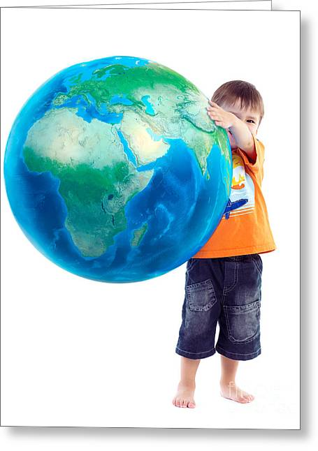 Three Generations Greeting Cards - Child holding world Earth globe in his hands Greeting Card by Oleksiy Maksymenko