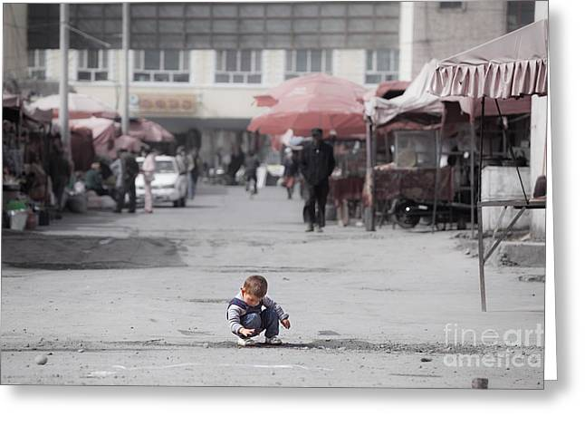Ethnical Greeting Cards - Child in a street of Tashkurgan Xinjiang China Greeting Card by Matteo Colombo