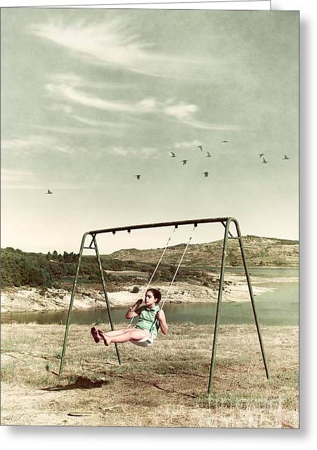 Child In A Swing Greeting Card by Carlos Caetano