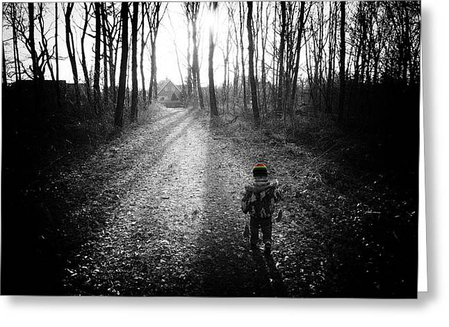 Little Boy Lost Greeting Cards - Child In Forest Greeting Card by Hans Engbers