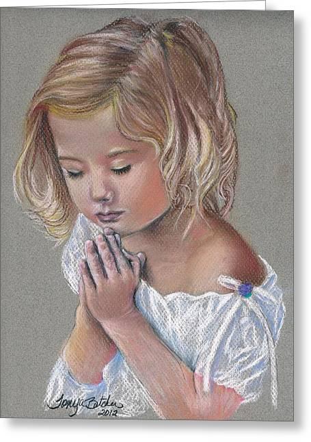 Child In Prayer Greeting Card by Tonya Butcher