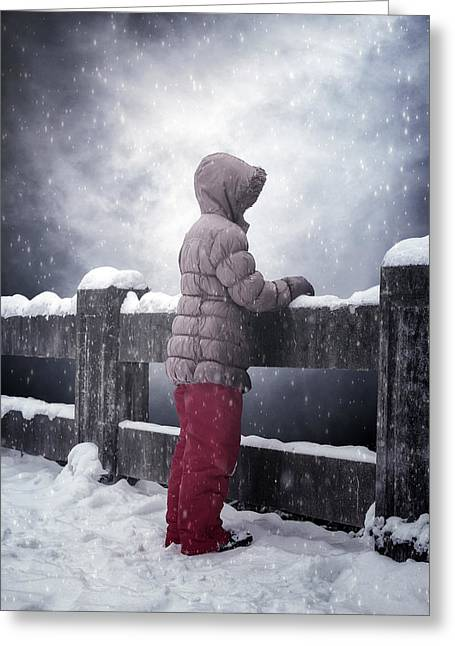 Kid Photographs Greeting Cards - Child In Snow Greeting Card by Joana Kruse