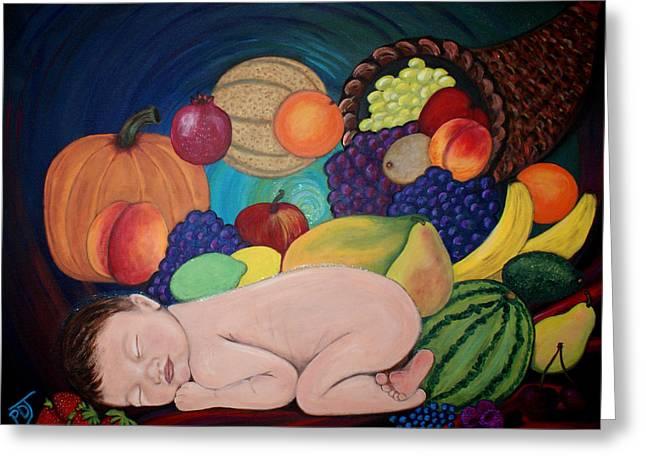 Cornucopia Paintings Greeting Cards - Child Of Plenty Greeting Card by Pamorama Jones
