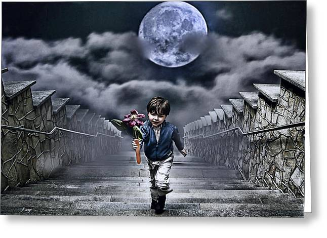 Children Greeting Cards - Child Of The Moon Greeting Card by Joachim G Pinkawa
